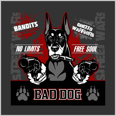 Bad dog - doberman - dog aiming with guns