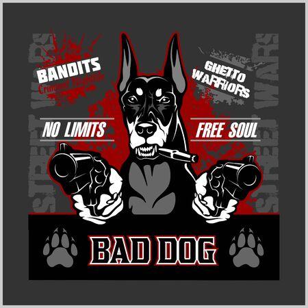 Bad dog - doberman - perro apuntando con armas