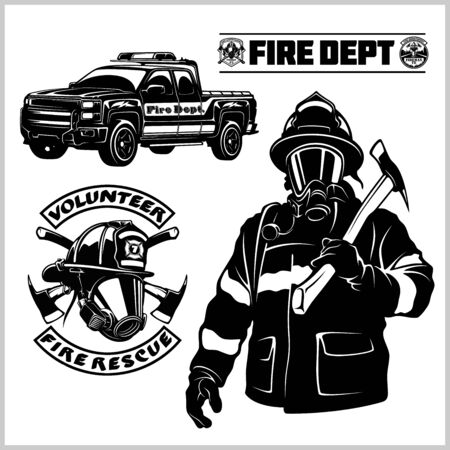 Fire department vector set - fireman s and emblems - badges, elements. Isolated on white background.