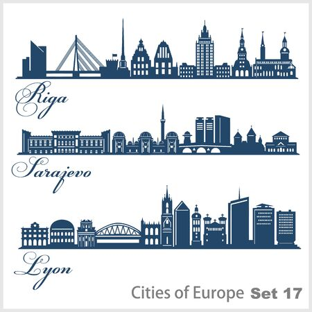 City in Europe - Riga, Sarajevo, Lyon. Detailed architecture. Trendy vector illustration.