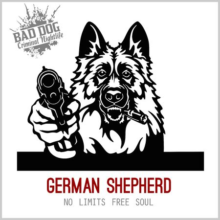German Shepherd with guns - German Shepherd gangster. Head of angry German Shepherd