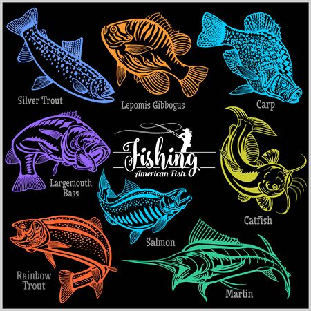 American Fish - vector set for creative design, t-shirt, badge and logo. Isolated on black.