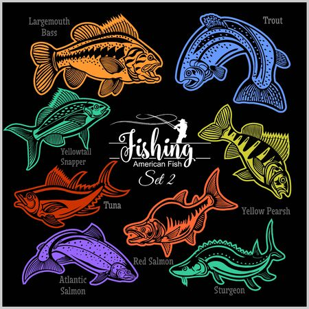 American Fish - vector set 2 for creative design, t-shirt, badge and logo. Isolated on black.
