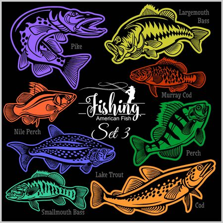 American Fish - vector set 3 for creative design, t-shirt, badge and logo. Isolated on black.