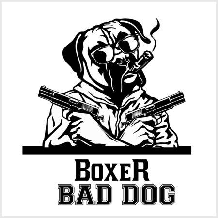 Perro boxer con gafas, dos pistolas y cigarro - Gángster boxer. Cabeza de boxeador enojado