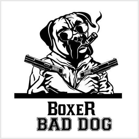 Boxer dog with glasses, two guns and cigar - Boxer gangster. Head of angry Boxer Illustration