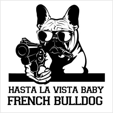 French Bulldog dog with glasses, gun and cigar - French Bulldog gangster. Head of angry French Bulldog Illustration