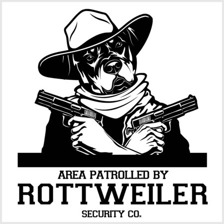 Rottweiler dog with glasses, two pistols and cigar - Rottweiler security. Head of angry Rottweiler Illustration