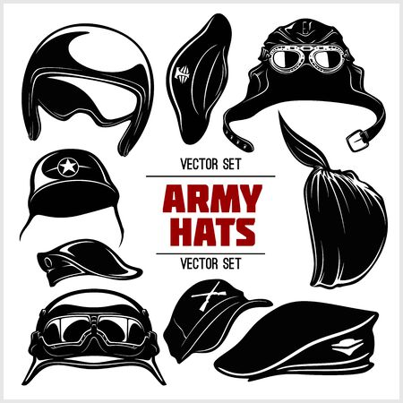 Vector Set of Military Hats and Helmets - Army hats isolated on white