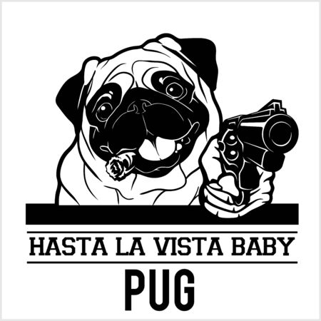 Pug dog with gun and cigar - Pug gangster. Head of Funny Pug