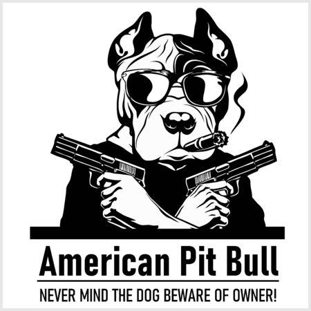 Chien American Pit Bull avec lunettes, deux pistolets et cigare - gangster American Pit Bull. Chef de pit-bull américain en colère Vecteurs
