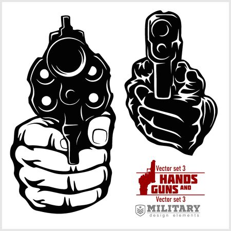 Hands with Guns - pistol pointed. At Gunpoint