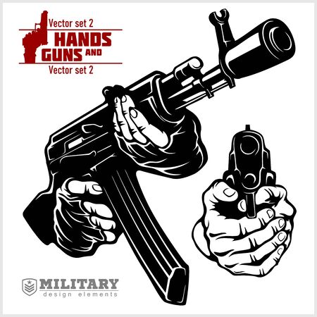 Hands with Rifle AK and Gun - rifle and pistol pointed. At Gunpoint
