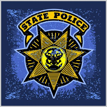 Vector Police Badge and Shield Label on grunge background.