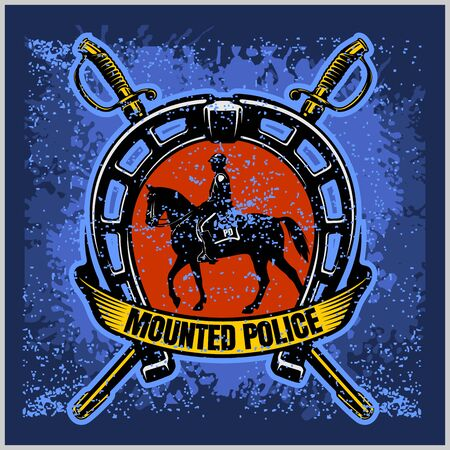 Mounted Police - Vector Police Badge and Shield Label on grunge background. Easy to edit. Stock fotó - 136291291