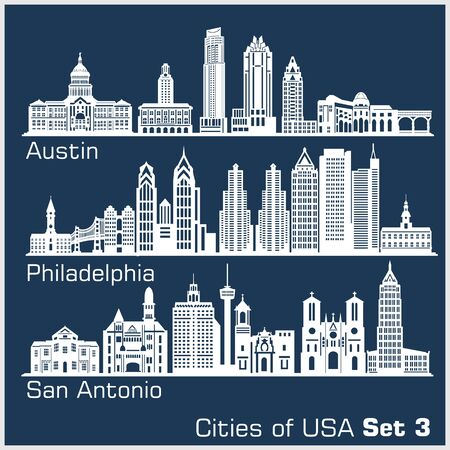 Cities of USA - Austin, Philadelphia, San Antonio. Detailed architecture. Trendy vector illustration.