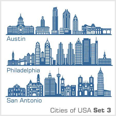Cities of USA - Austin, Philadelphia, San Antonio. Detailed architecture. Trendy vector illustration.