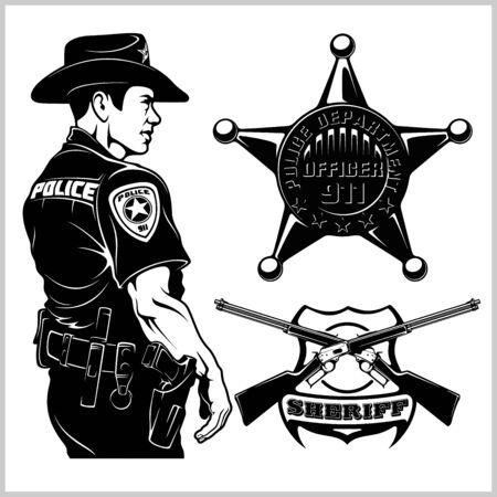 Sheriff Vector set - Design elements, Badge, Sheriff in Monochrome style. Vector illustration Isolated on White