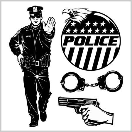Police officer stops and design elements - Vector set. Police officer isolated on white Ilustração