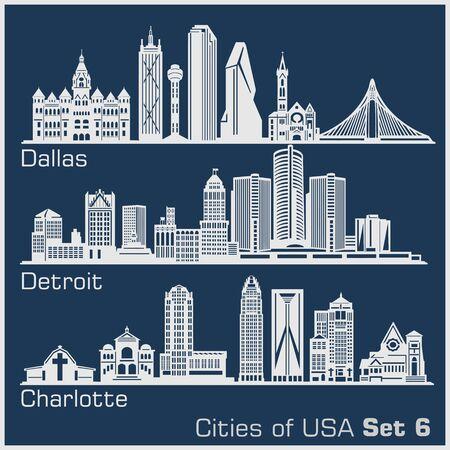 Ciudades de Estados Unidos: Dallas, Detroit, Charlotte. Arquitectura detallada. Ilustración vectorial de moda.