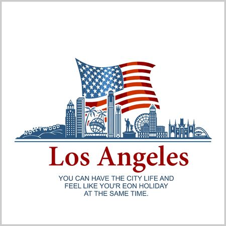 Los Angeles city skyline detailed silhouette on USA flag. Vector illustration and quote.