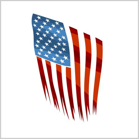 Ripped US flag on white background. National holiday of the USA. Vector illustration.