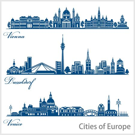 City in Europe - Vienna, Dusseldorf, Venice. Detailed architecture. Trendy vector illustration. Ilustração