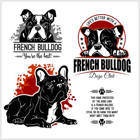 French Bulldog - vector set for t-shirt, template badges