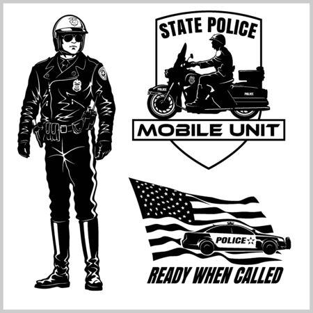 Motorcycle Cop - Retro Clip Art. Police badges and design elements - Vector set