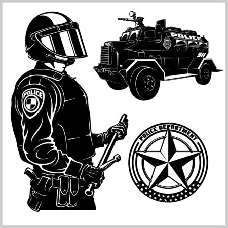 Spezielle Polizeiautos und Polizisten - Pickup und Panzerwagen - Vektorset isoliert auf weiß Vektorgrafik