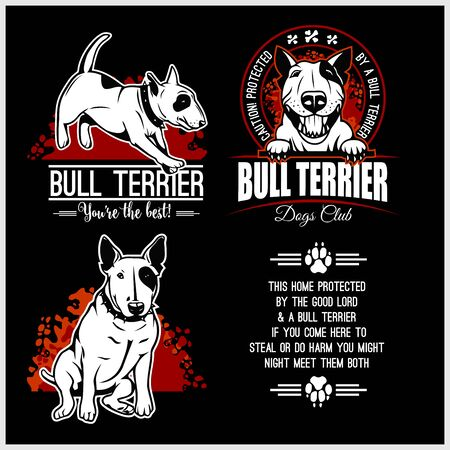 Bull Terrier - vector set for t-shirt, logo and template badges