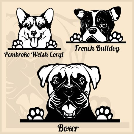 Peeking Dogs - set with dog breeds, cartoon pictures Vector Illustration