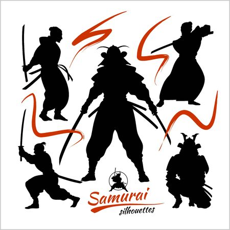 Samurai warriors - vector set, vector silhouettes isolated on white