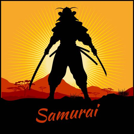 Silhouette Samurai Warrior With Two Katana Sword