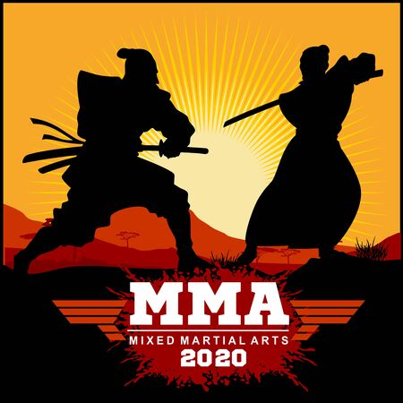 Silhouettes Duel of two samurai - Samurai Warriors With Katana Sword - MMA Mixed Martial Art