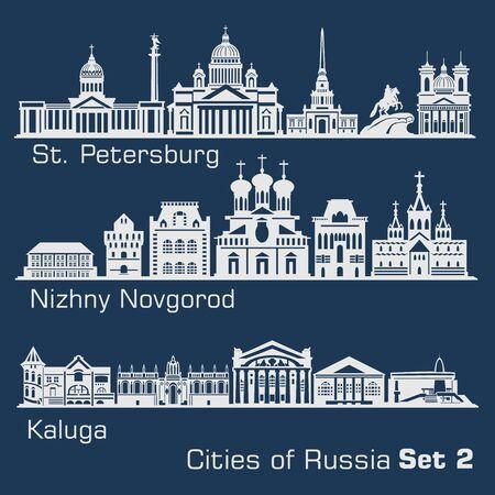 St. Petersburg, Nizhny Novgorod, Kaluga City skyline set. Russia. Vector silhouette on dark.