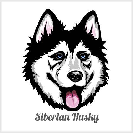 Cabeza de perro husky siberiano mostrando lengua en diseño vectorial