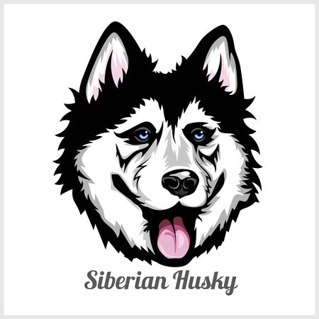 Siberian Husky Dog head showing tongue in vector design
