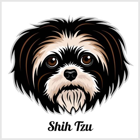 Shih Tzu Dog head showing tongue in vector design isolated on white Vector Illustration