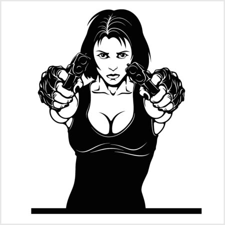 Beautiful woman holding a guns vector illustration isolated on whiye