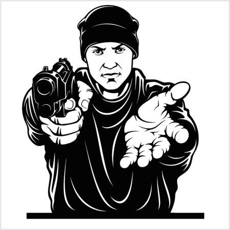 Gangster with Gun. Ghetto Warriors. Vector illustration isolated on white Ilustración de vector