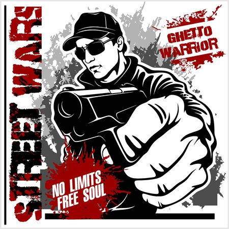 Gangster with Gun. Ghetto Warriors. Vector illustration isolated on white
