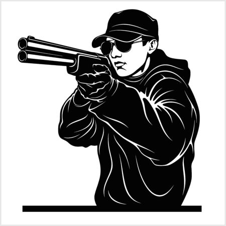 Man aiming shotgun at you - Vector illustration isolated on white