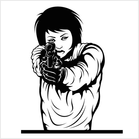 Woman aiming a gun vector illustration isolated on whiye