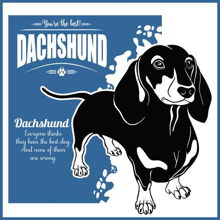 Dachshund - vector template for t-shirt, logo and badges 일러스트