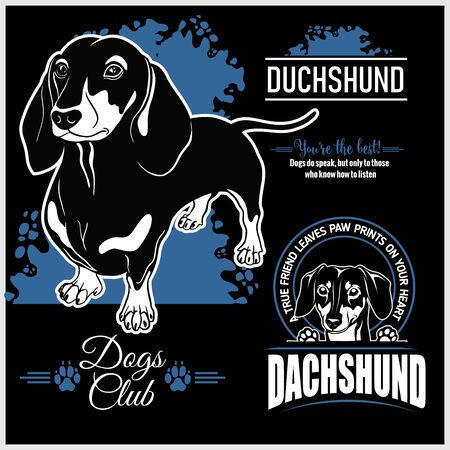 Dachshund - vector set for t-shirt, logo and template badges