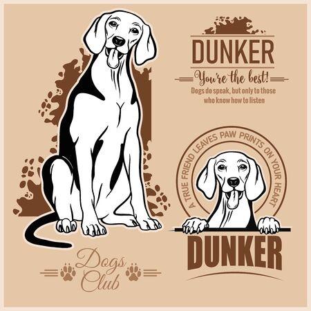 Dunker - vector set for t-shirt, logo and template badges 일러스트