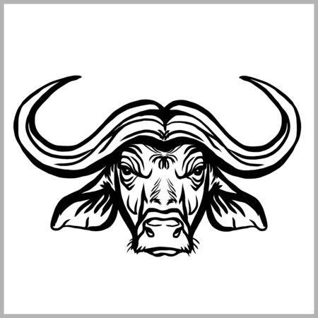 Wild buffalo bull head for mascot or tattoo design.