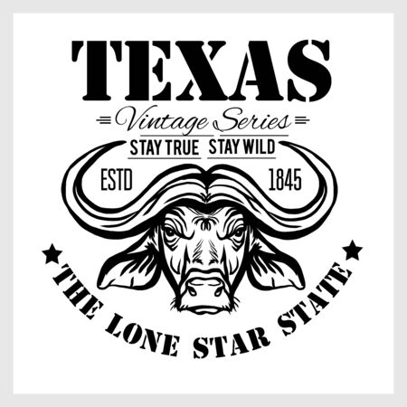 Texas - vintage typography with a Bull Head