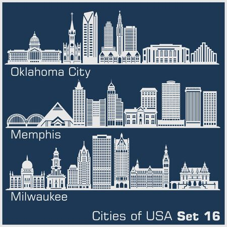 Cities of USA - Oklahoma City, Memphis, Milwaukee. Detailed architecture. Trendy vector illustration.